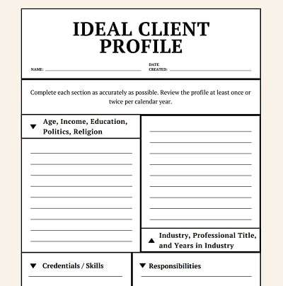 Ideal client profile template worksheet