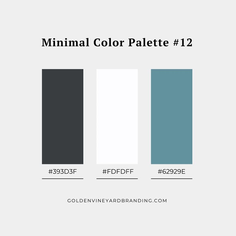 A minimalist color palette with charcoal and teal.