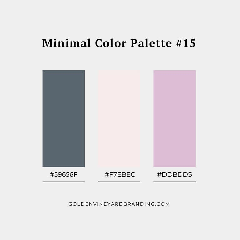 A minimalist color palette with grey and lavender.