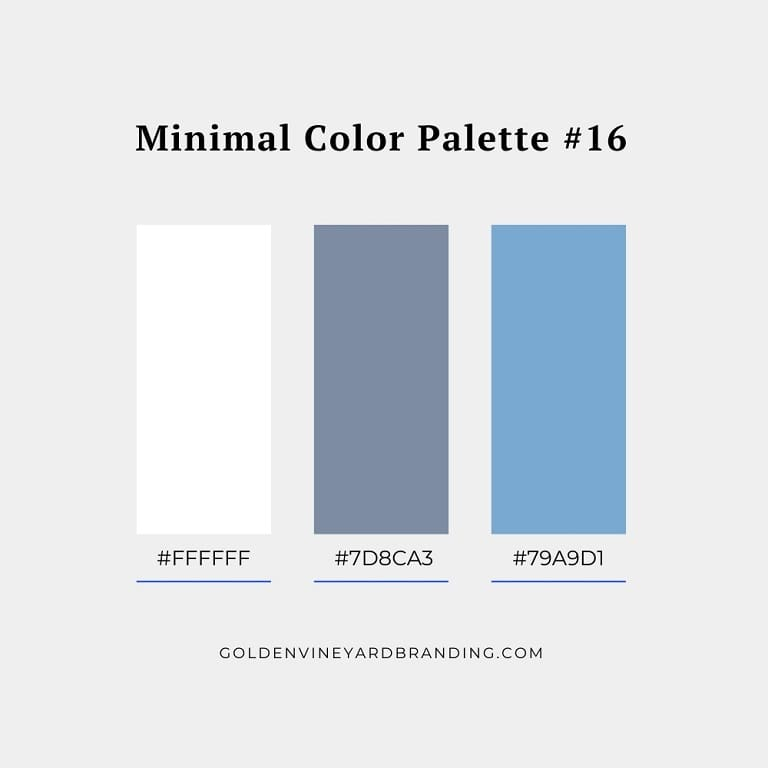 A minimalist color palette with greys and blues.
