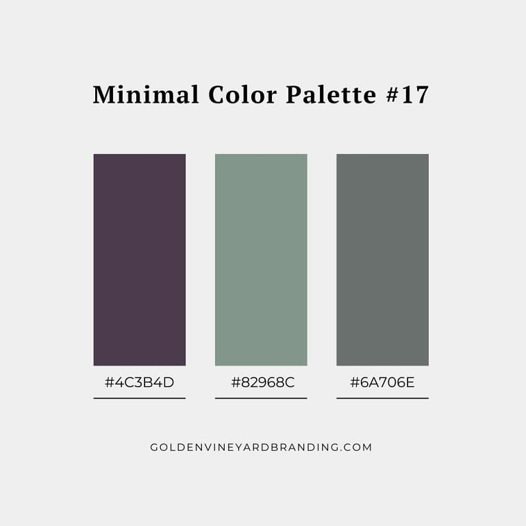 A minimalist color palette with muted purple and grey.