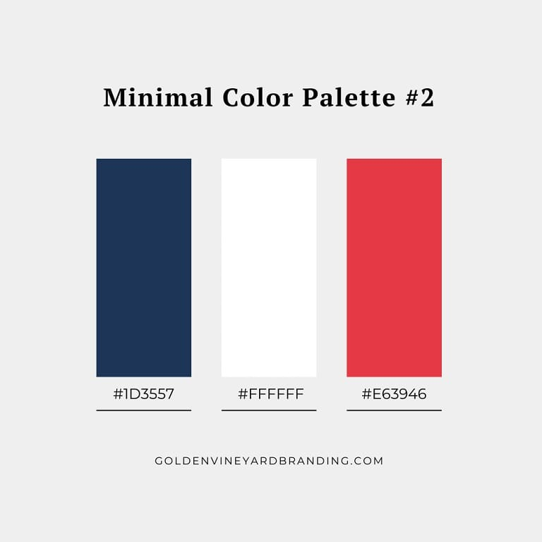 A minimalist color palette with red, white, and blue colors.