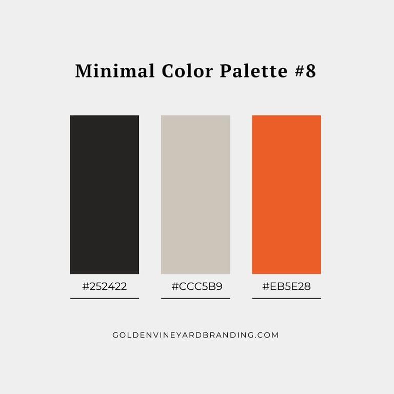 A minimalist color palette with orange as an accent color.