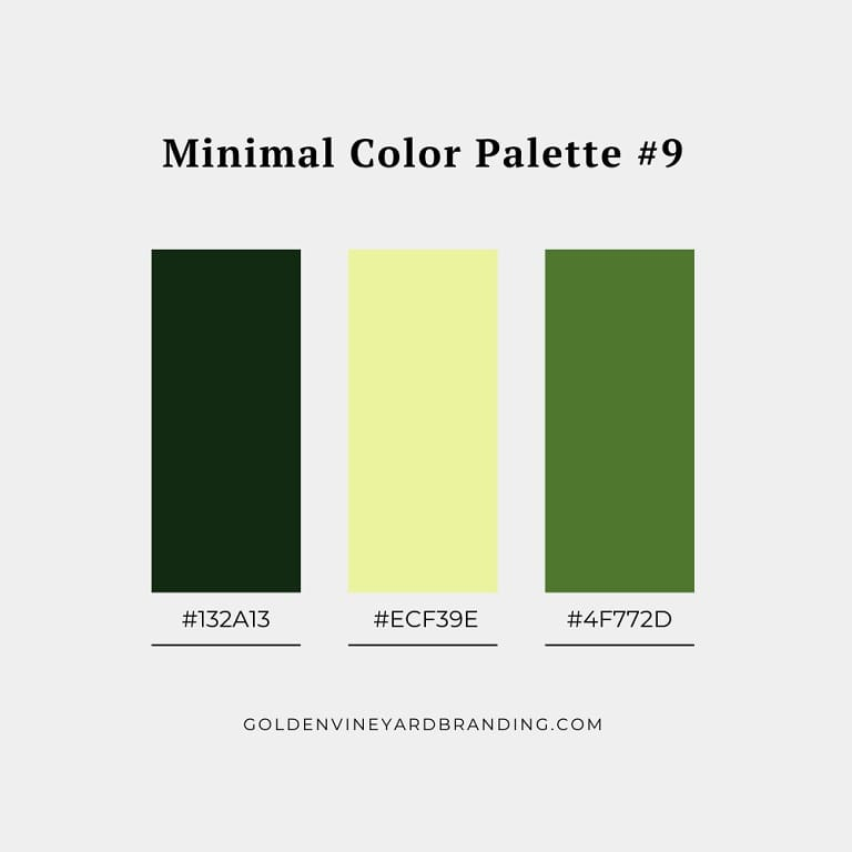 A minimalist color palette with shades of green and yellow.